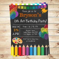 printable painting art party birthday invitation rainbow kids