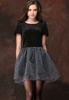 Polka Dot Contrast Plaid Dress http://news.globalintimatewear.com/GalleriesVideos/10629/Gallery_Attractive_Bridal_Lingerie_Shoot.html