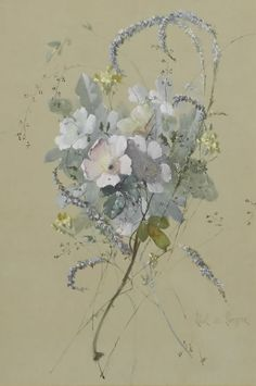 """Flowers"" - Paul De Longpre - From The Cooley Gallery Victorian Flowers, Vintage Flowers, Art Floral, Watercolor Flowers, Watercolor Paintings, Botanical Prints, Flower Art, Art Nouveau, Illustration Art"