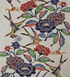 Okinawa textile, Bingata 紅型瑞雲鳥牡丹