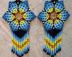 Mexican Huichol Earrings Turquoise Blue Purple by ManoDeGato