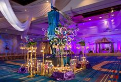 Suhaag Garden, Florida Indian Wedding Decorator, California Indian Wedding Decorator, San Fransisco Indian Wedding Decorator, Mehndi Stage, Sangeet Stage, Garba Stage, Paisley Backdrop, Colorful Drapery, Bride and Groom Seating, Garba Focal Point, Radha Krishna, Rangoli, Teal, Sapphire, Purple & Blue, Grand Cypress Hyatt Orlando Florida