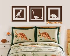 Dinosaur Squares Decal - Vinyl Wall Art - toddler or play room. $35.00, via Etsy.
