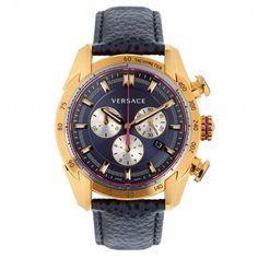 Versace Armbanduhr – Chronograph Rose Gold-Tone Watch – in gold, blau – Armbanduhr für Damen