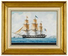 """Frederic Roux (French, 1805-1870)  portrait of a three masted french merchant ship.  Signed, """"Frederic Roux, Le Havre,"""" watercolor and ink on paper, framed."""
