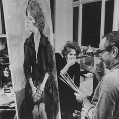 Actress, Tammy Grimes, with Artist, Rene Bouche, During Portrait By Dmitri Kessel