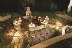 I love the mulch and plants around this firepit.