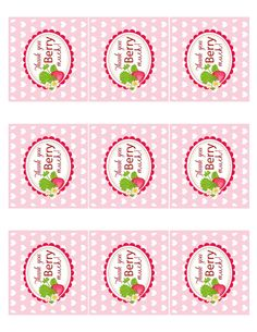 Free berry thank you tags. Berry Sweet Strawberry Valentine's Day Party with FREE printables! By Kara's Party Ideas for Canon.