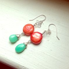 Coral coin pearl chrysoprase drop earrings SS Hot earrings coral colored freshwater coin pearls and apple green chrysoprase drops. Sterling silver components. Super cute for summer!! Emily designs Jewelry Earrings