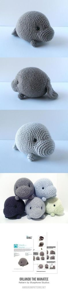 Orlando The Manatee Amigurumi Pattern MIKAELA!!! YOU SHOULD MAKE ME ONE! I'LL PAY YOU FOR THE CUTENESS! OMG!