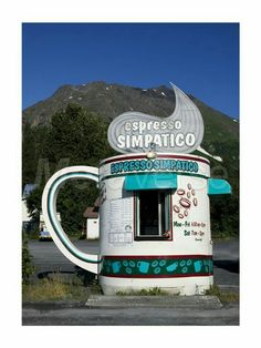 Espresso Simpatico Coffee Shop, Seward, Alaska art print at Coffee Decor. They make great mochas too :) Coffee Shops, Coffee Carts, I Love Coffee, My Coffee, Coffee Break, Coffee Talk, Seward Alaska, Alaska Usa, Unusual Buildings