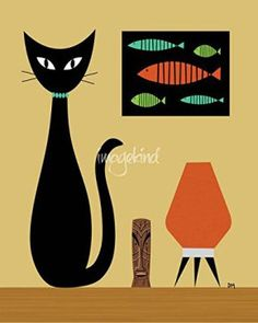 Cat wall decor is an easy way to add anoverload of cutenessinto your home decor theme. In fact cat wall decor comes in many shapes and forms. You can find all kinds of cat wall art such as cat wall clocks, cat wall hangings, cat wall paintings and so much more.Naturally you will notice that cat wall decor has the potential to work well for any room in your home.  Wall Art Print entitled Cat On Tabletop by Donna Mibus | 36 x 45