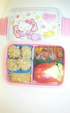 Tomorrow's bento: oatmeal, cauliflower pizza (1 slice halved and stacked), 1/4 apple on top of celery sticks, peanut butter for dipping.