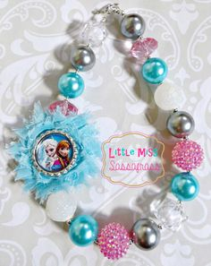 Frozen Elsa & Anna Chunky Bubblegum Necklace with Shabby Pendant. {Frozen Sisters} on Etsy, $18.00