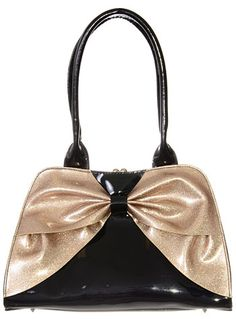 Flashy Fairlane Retro Patent Purse By Lux De Ville Handbags Black