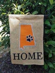 State Garden Flag Auburn Paw Print Home Burlap Flag
