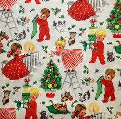 Vintage Children's Christmas Gift Wrap