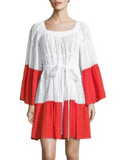 Lisa Marie Fernandez Contrast-panel Broderie-anglaise Cotton Dress In White Multi Lisa Marie Fernandez, Flutter Sleeve, Cotton Dresses, Hemline, Bell Sleeves, Fitness Models, Contrast, Short Dresses, White Dress