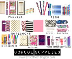 Back to School: Supplies {To see the full post go to www. Back to School: Supplies { College School Supplies, Back To School Supplies, University High School, School Must Haves, School Suplies, Back To School Essentials, School Lockers, School Hacks, School Routines