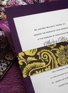 Purple, Brown & Gold Wedding Invitation Idea - Invitation Ideas