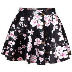 LUCLUC Black Peach Floral Printed Skirt found on Polyvore