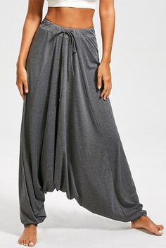 """"""""""" Drawstring Waist Drop Bottom Harem Pants """""""" Cheap Fashion online retailer providing customers trendy and stylish clothing including different categories such as dresses, tops, swimwear. Sarouel Pants, Yoga Harem Pants, Baggy Pants, Dance Pants, Long Pants, Slacks For Women, Trousers Women, Fashion Pants, Fashion Outfits"""