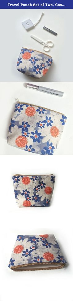 """Travel Pouch Set of Two, Cosmetic Purse, Canvas Pouch, Handmade Gifts, Retro Daisy Blue. Handy and versatile This pouch set makes great organizer, makeup bag, traveling pouch, pencil case etc.. or to organize little things in your bag. Make a lovely holiday gifts, for girl friends, sisters, bridesmaid, etc Set of two zipper pouches handmade by me with Japanese cotton canvas in lovely retro inspired prints of daisy in blue and orange Dimensions - Mini Travel Pouch - approximately 5.5""""(at…"""