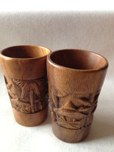 Vintage Carved Monkey Pod Glasses / Tiki Tumblers by IfoundVintage