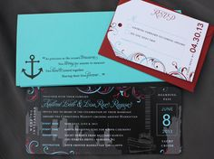 Turquoise, Red, Gray & Black New York Skyline & Swirls Yacht Cruise Ticket Wedding Invitations Boat Wedding, Cancun Wedding, Cruise Wedding, Wedding Day, Dream Wedding, Cruise Tickets, Airline Tickets, Wedding Stationery, Wedding Invitations