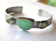 Cuff Bracelet, Hand Stamped, Thick Gemstone Cuff, Rustic, Eco Friendly Silver