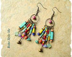 Boho Colorful Fun Earrings, Playful Bohemian Dangle Earrings, Boho Fashion Jewelry, Boho Style Me, Kaye Kraus