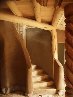 Ferrocement walls with wood stairs and ceiling...