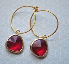 red earrings - beautiful Red Earrings, Gold Hoops, Different Colors, October 4, Jewels, Personalized Items, Chain, My Style, Bracelets