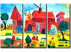 Obraz Pierwszy dzień wakacji - inspirujące dekoracje ścienne do pokoju dziecka  #obrazy #recznie #malowane #tryptyki #dekoracje #ścienne #sztuka #malarstwo #wnętrza #dzieci