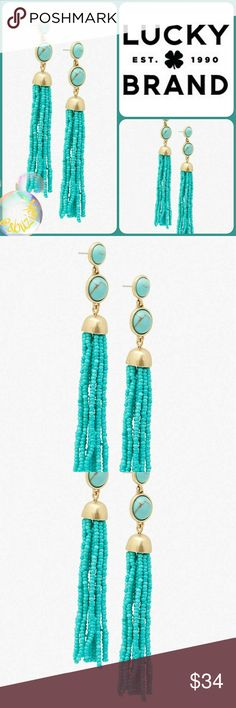 ⚡Flash Sale ⚡Lucky Brand Turquoise Tassel Earrings Lucky Brand Turquoise Beaded Tassel Earrings with Halfdome post closure.  Make a style statement with these fun and fab earrings. Lenght is approximately 4 inches. New with tags. Lucky Brand Jewelry Earrings