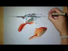 Fun Realistic Drawing - the impact of a drop on water - YouTube