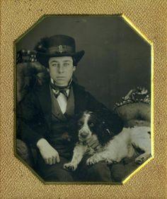 Unsurpassed Content Adorable Spaniel Type Dog Unique Boy Daguerreotype 1840s | eBay