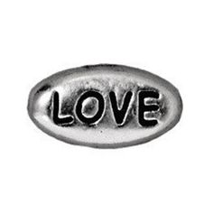 0902-love-sp Tierracast Bright Rhodium Silver 11x6mm Oval Message Bead - LOVE (Package of 1 bead)