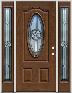 Fiberglass Front Door With Sidelites, 3/4 Oval Texas Star #60 Patina,
