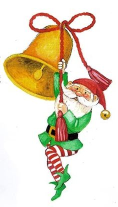 CHRISTMAS GNOME AND BELL CLIP ART #clipart