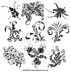 flower vector ornament silhouettes