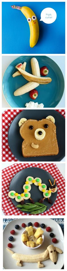 These are some great ideas for banana snacks for your kids! - These are some great ideas for banana snacks for your kids! Cute Snacks, Fun Snacks For Kids, Cute Food, Kids Meals, Good Food, Yummy Food, Party Snacks, Kid Snacks, Simple Snacks