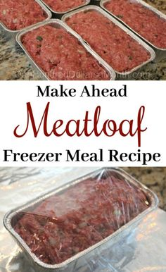Simple Meat Loaf With fall sports season in full swing, our evenings are sometimes always hectic. Back in July when I picked up my 40 pounds of ground beef, one of the recipes I made and froze was a simple meat loaf. It makes dinner time on crazy nights a Freezable Meals, Make Ahead Freezer Meals, Freezer Cooking, Easy Meals, Freezer Dinner, Crockpot Freezer Meals, Inexpensive Meals, Meals Made Simple, Pasta Recipes