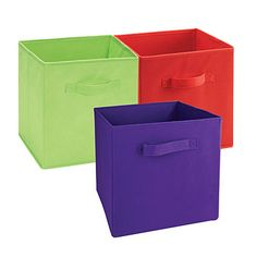 Create a colorful, organized storage space with these fabric storage bins - a convenient way to hold what you need for hobbies, toys, shoes & more! They fit perfectly into any system build cube. Available at #BigLots.