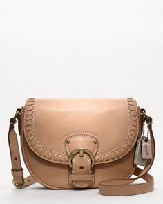 """Coach """"Poppy"""" Natural Leather Whipstitch Crossbody"""