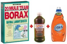 Outdoor furniture cleaning solution: to 1 gallon of hot water, add: 1 cup Borax, ½ cup hydrogen peroxide, ¼ cup liquid dish soap (whatever you have on hand, but I like Dawn). Stir to dissolve Borax, then apply to furniture & cushions with a brush or scrubby sponge (check fabric for colorfastness, but peroxide would usually have to stand on fabric for hours to have a bleaching effect, if any). Rinse & repeat, if necessary.