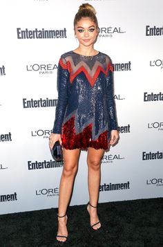 Emmys 2016: All the Afterparty and Pre-Party Dresses You Didn't See - Sarah Hyland in a sequin Elisabetta Franchi mini dress