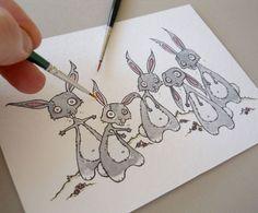easter bunny zombie horde - original illustration £15.00 from little black heart!