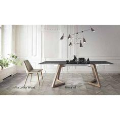 Mesa diseño comedor extensible Nil nacher patas en madera moderna