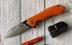 """submitted by Gabriel ColinIf you're in the market for a mid-size folding knife with a modern look, the Bestech Beluga is definitely worth your attention. Measuring in at a respectable 3.125"""", the drop point blade stands out thanks to its two-tone appearance. The black finish starts at the spine of the blade where the jimping lies and extends all the way to the tip. This gives it a nice contrast with the satin finish of the D2 steel blade. The G-10 handles feature precision-cut ergonomics for a c"""